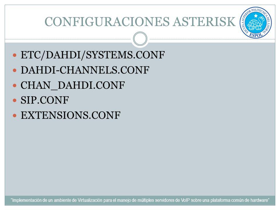 CONFIGURACIONES ASTERISK ETC/DAHDI/SYSTEMS.CONF DAHDI-CHANNELS.CONF CHAN_DAHDI.CONF SIP.CONF EXTENSIONS.CONF Implementación de un ambiente de Virtuali