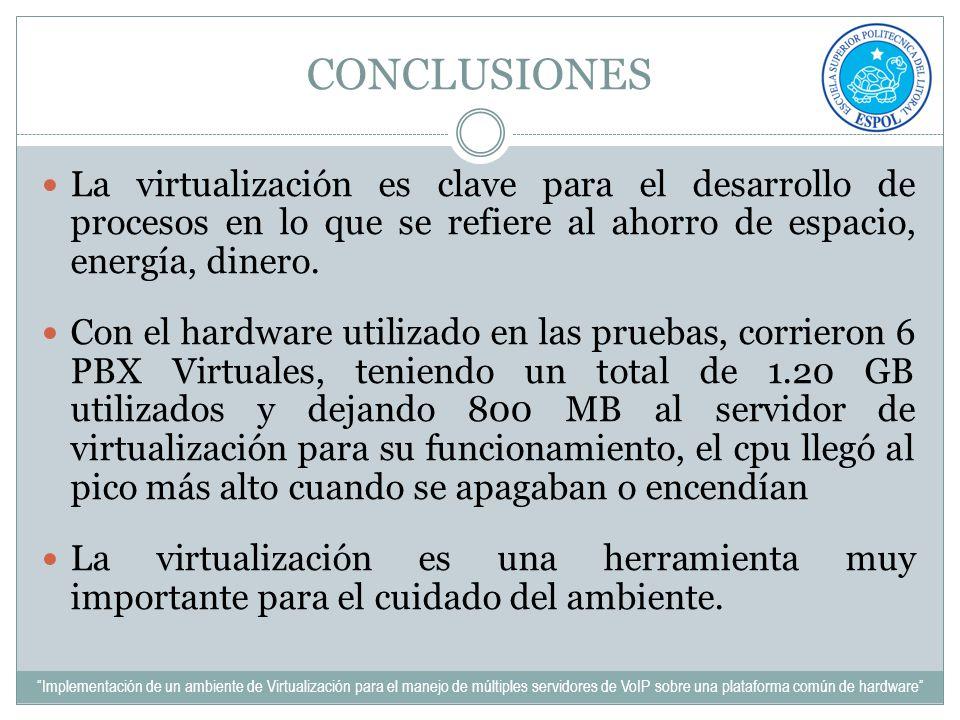 CONCLUSIONES La virtualización es clave para el desarrollo de procesos en lo que se refiere al ahorro de espacio, energía, dinero. Con el hardware uti