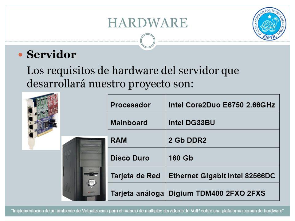 HARDWARE Servidor Los requisitos de hardware del servidor que desarrollará nuestro proyecto son: ProcesadorIntel Core2Duo E6750 2.66GHz MainboardIntel