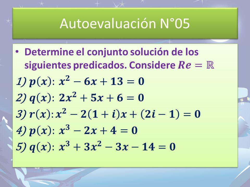 Autoevaluación N°05