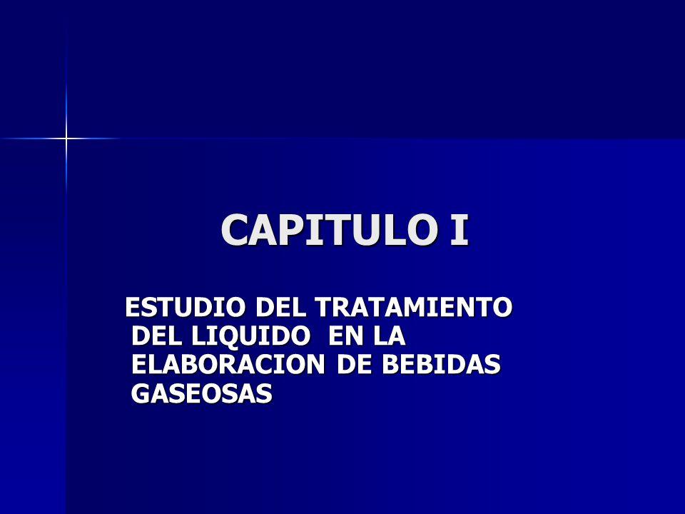 CAPITULO I ESTUDIO DEL TRATAMIENTO DEL LIQUIDO EN LA ELABORACION DE BEBIDAS GASEOSAS ESTUDIO DEL TRATAMIENTO DEL LIQUIDO EN LA ELABORACION DE BEBIDAS