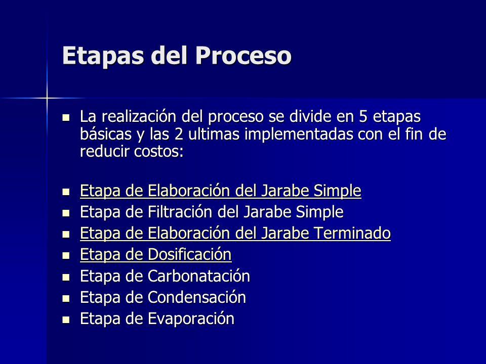 Etapas del Proceso La realización del proceso se divide en 5 etapas básicas y las 2 ultimas implementadas con el fin de reducir costos: La realización