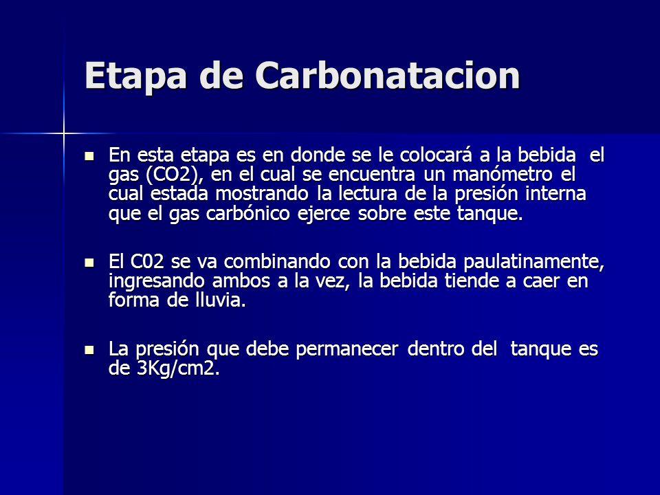 Etapa de Carbonatacion En esta etapa es en donde se le colocará a la bebida el gas (CO2), en el cual se encuentra un manómetro el cual estada mostrand
