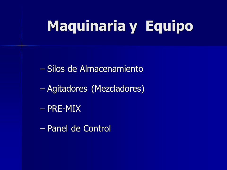 Maquinaria y Equipo –Silos de Almacenamiento –Agitadores (Mezcladores) –PRE-MIX –Panel de Control