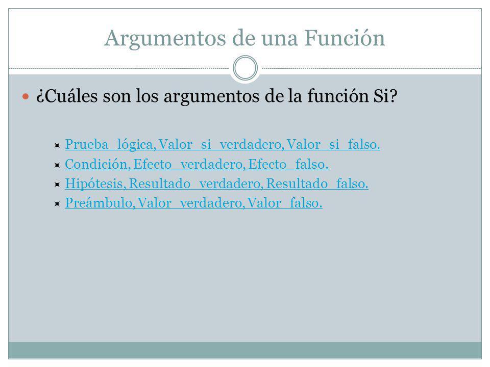 Argumentos de una Función ¿Cuáles son los argumentos de la función Si.