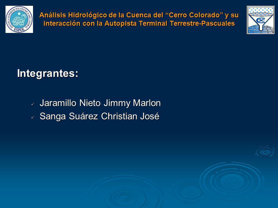 Integrantes: Jaramillo Nieto Jimmy Marlon Jaramillo Nieto Jimmy Marlon Sanga Suárez Christian José Sanga Suárez Christian José Análisis Hidrológico de