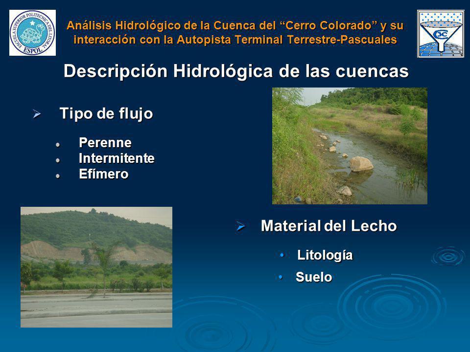 Tipo de flujo Tipo de flujo Perenne Perenne Intermitente Intermitente Efímero Efímero Análisis Hidrológico de la Cuenca del Cerro Colorado y su intera