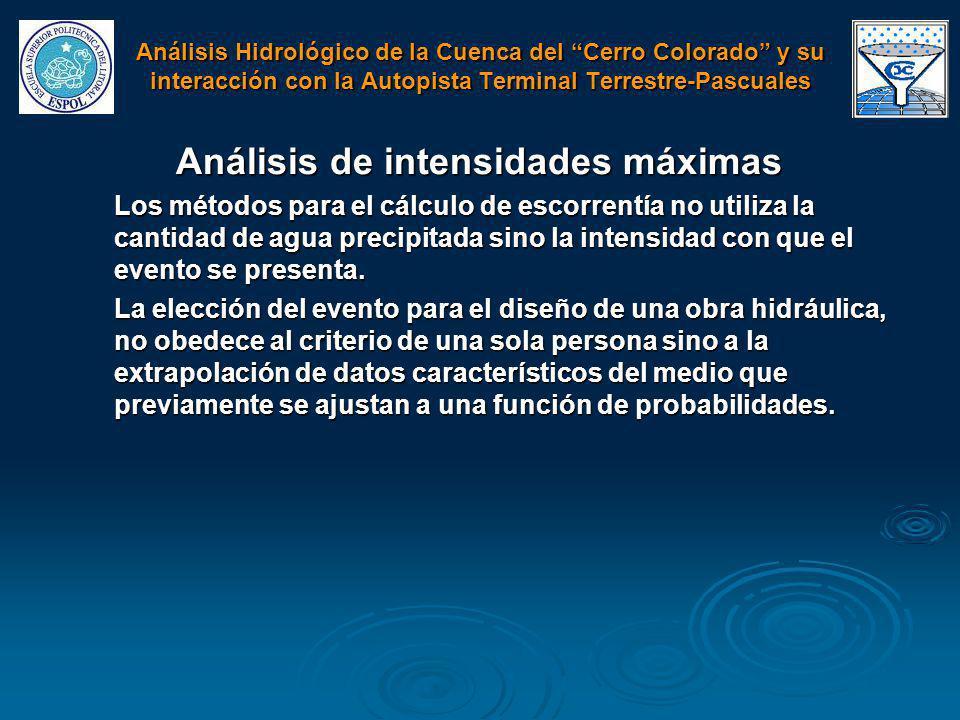 Análisis de intensidades máximas Los métodos para el cálculo de escorrentía no utiliza la cantidad de agua precipitada sino la intensidad con que el e