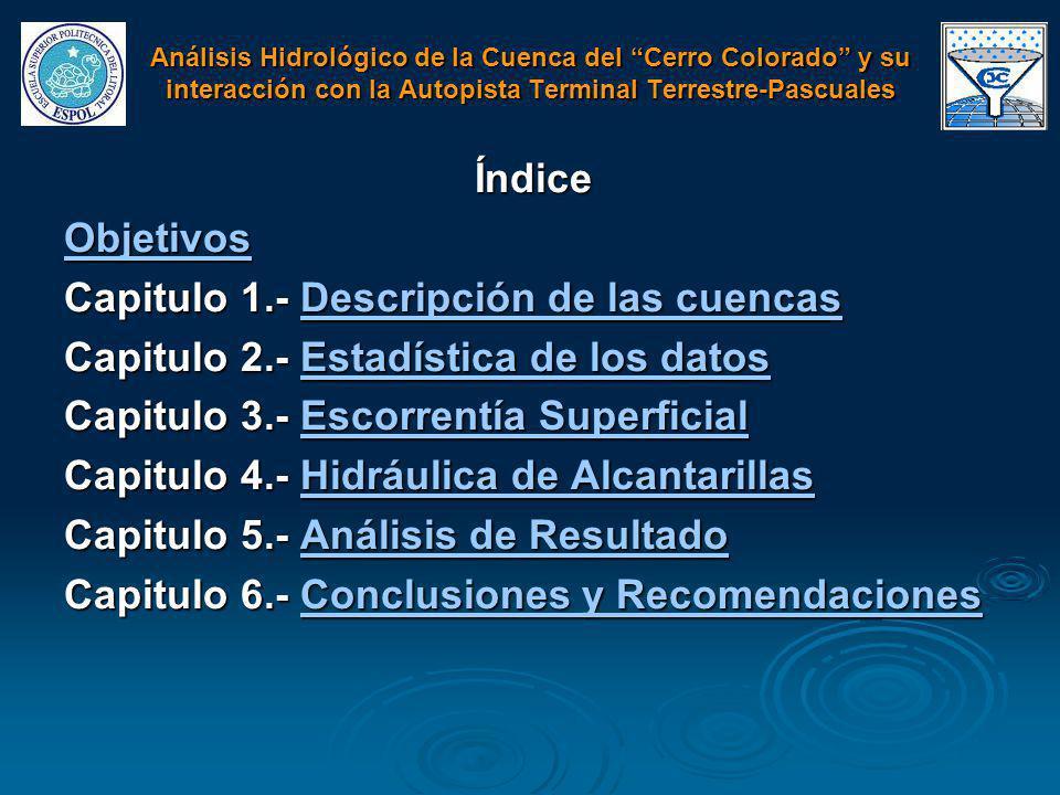 Índice Objetivos Capitulo 1.- Descripción de las cuencas Descripción de las cuencasDescripción de las cuencas Capitulo 2.- Estadística de los datos Es