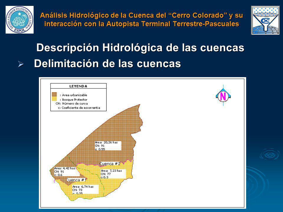 Descripción Hidrológica de las cuencas Delimitación de las cuencas Delimitación de las cuencas Análisis Hidrológico de la Cuenca del Cerro Colorado y