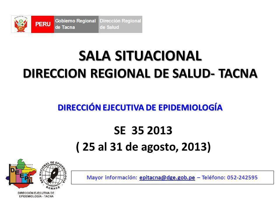 SALA SITUACIONAL DIRECCION REGIONAL DE SALUD- TACNA SE 35 2013 ( 25 al 31 de agosto, 2013) Mayor información: epitacna@dge.gob.pe – Teléfono: 052-242595epitacna@dge.gob.pe DIRECCIÓN EJECUTIVA DE EPIDEMIOLOGÍA