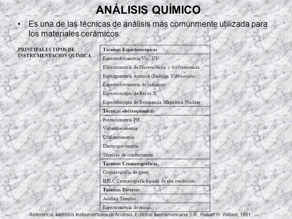 ANÁLISIS QUÍMICO Es una de las técnicas de análisis más comúnmente utilizada para los materiales cerámicos. PRINCIPALES TIPOS DE INSTRUMENTACIÓN QUÍMI