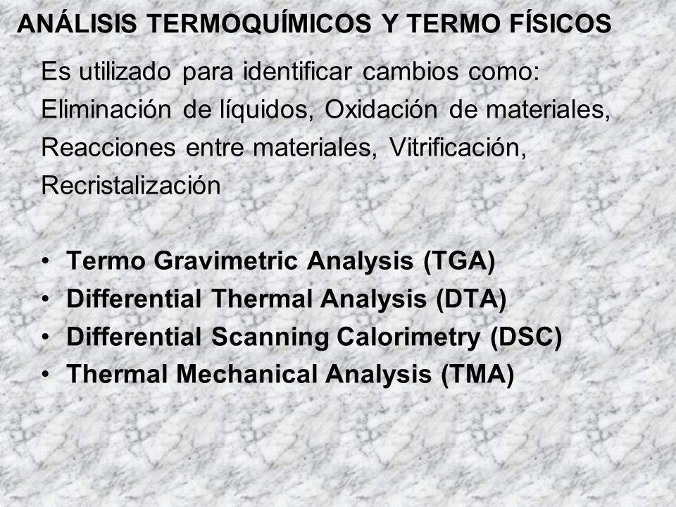 ANÁLISIS TERMOQUÍMICOS Y TERMO FÍSICOS Es utilizado para identificar cambios como: Eliminación de líquidos, Oxidación de materiales, Reacciones entre