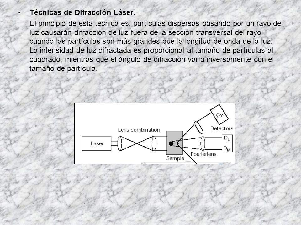 Técnicas de Difracción Láser. El principio de esta técnica es, partículas dispersas pasando por un rayo de luz causarán difracción de luz fuera de la