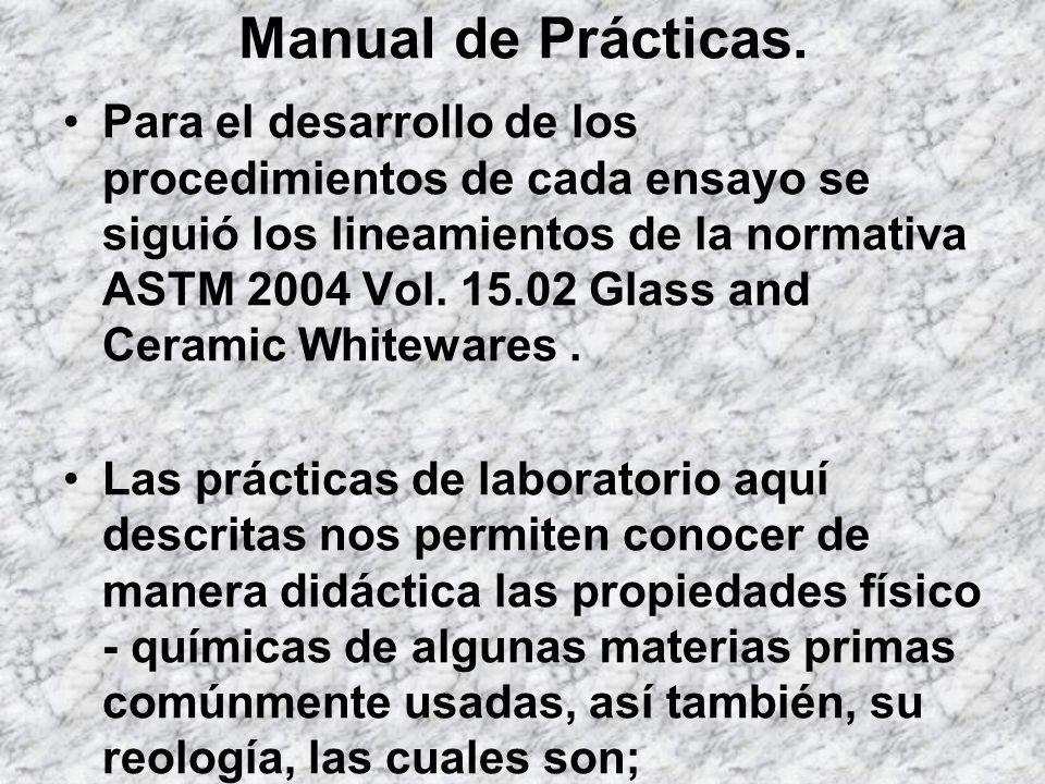 Para el desarrollo de los procedimientos de cada ensayo se siguió los lineamientos de la normativa ASTM 2004 Vol. 15.02 Glass and Ceramic Whitewares.