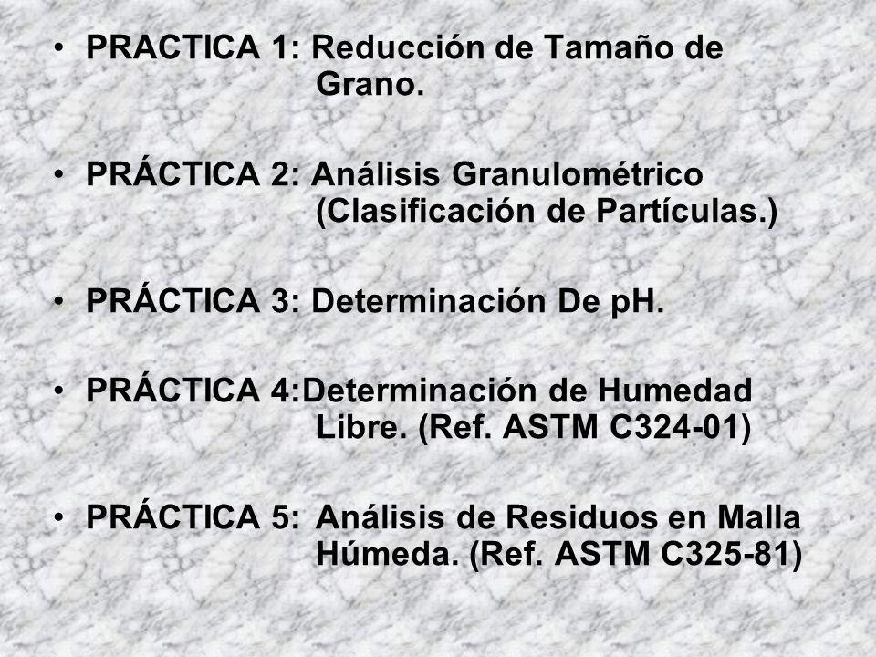 PRACTICA 1: Reducción de Tamaño de Grano. PRÁCTICA 2: Análisis Granulométrico (Clasificación de Partículas.) PRÁCTICA 3: Determinación De pH. PRÁCTICA