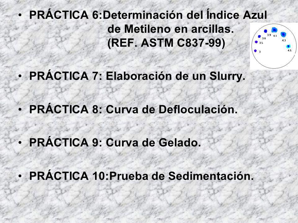 PRÁCTICA 6:Determinación del Índice Azul de Metileno en arcillas. (REF. ASTM C837-99) PRÁCTICA 7: Elaboración de un Slurry. PRÁCTICA 8: Curva de Deflo