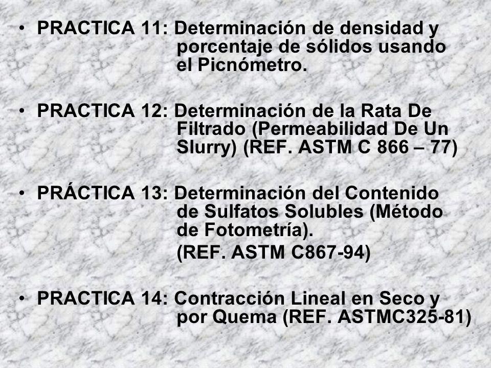 PRACTICA 11: Determinación de densidad y porcentaje de sólidos usando el Picnómetro. PRACTICA 12: Determinación de la Rata De Filtrado (Permeabilidad