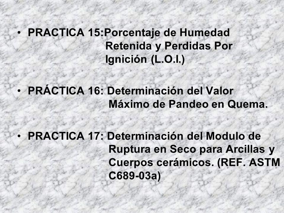 PRACTICA 15:Porcentaje de Humedad Retenida y Perdidas Por Ignición (L.O.I.) PRÁCTICA 16: Determinación del Valor Máximo de Pandeo en Quema. PRACTICA 1
