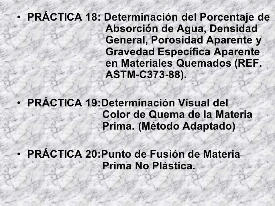 PRÁCTICA 18: Determinación del Porcentaje de Absorción de Agua, Densidad General, Porosidad Aparente y Gravedad Específica Aparente en Materiales Quem