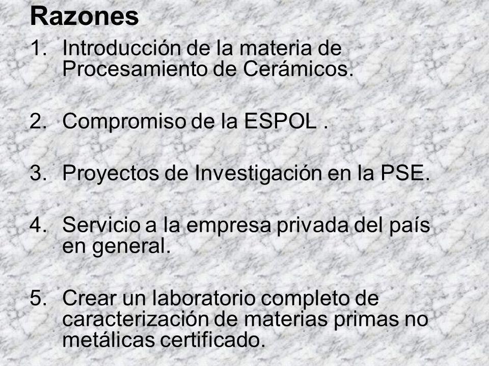 Razones 1.Introducción de la materia de Procesamiento de Cerámicos. 2.Compromiso de la ESPOL. 3.Proyectos de Investigación en la PSE. 4.Servicio a la