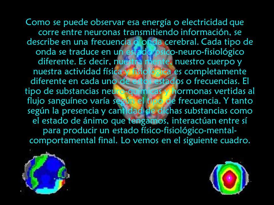 Como se puede observar esa energía o electricidad que corre entre neuronas transmitiendo información, se describe en una frecuencia o onda cerebral. C