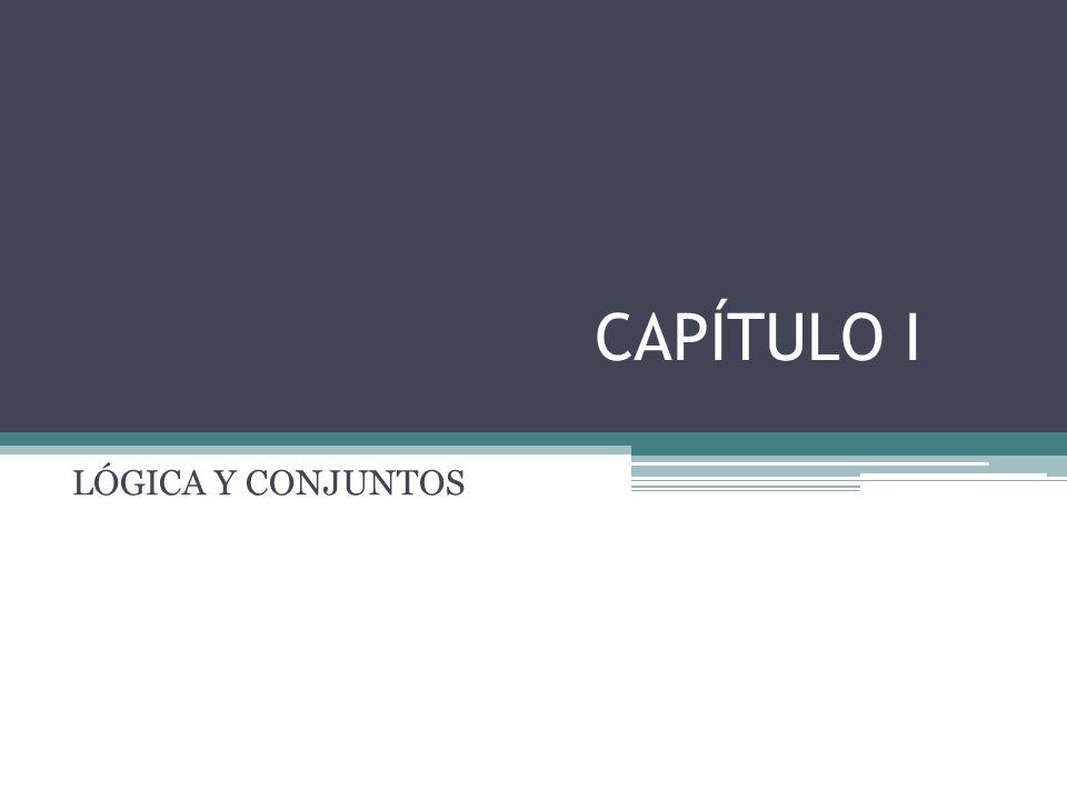 Temas del Capítulo I 1.1 Proposiciones Proposición Valor de verdad Tabla de verdad 1.2 Operadores lógicos Negación Conjunción Disyunción Disyunción exclusiva Condicional Variaciones de la condicional: Recíproca, inversa, contrarrecíproca Condiciones necesarias y suficientes