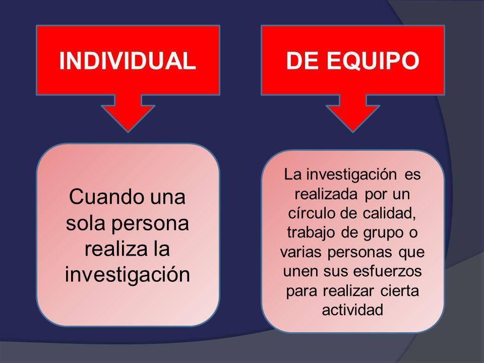 INDIVIDUALDE EQUIPO Cuando una sola persona realiza la investigación La investigación es realizada por un círculo de calidad, trabajo de grupo o varia