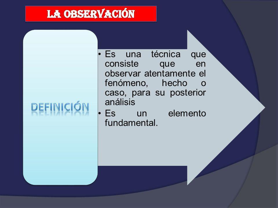 Es una técnica que consiste que en observar atentamente el fenómeno, hecho o caso, para su posterior análisis Es un elemento fundamental.