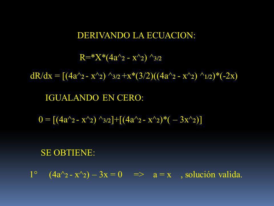 DERIVANDO LA ECUACION: R=*X*(4a^ 2 - x^ 2 ) ^ 3/2 dR/dx = [(4a^ 2 - x^ 2 ) ^ 3/2 +x*(3/2)((4a^ 2 - x^ 2 ) ^ 1/2 )*(-2x) IGUALANDO EN CERO: 0 = [(4a^ 2 - x^ 2 ) ^ 3/2 ]+[(4a^ 2 - x^ 2 )*( – 3x^ 2 )] SE OBTIENE: 1° (4a^ 2 - x^ 2 ) – 3x = 0 => a = x, solución valida.