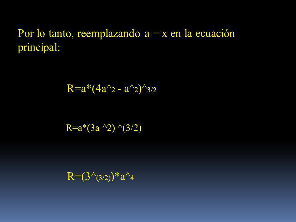Por lo tanto, reemplazando a = x en la ecuación principal: R=a*(4a^ 2 - a^ 2 )^ 3/2 R=a*(3a ^2) ^(3/2) R=(3^ (3/2) )*a^ 4