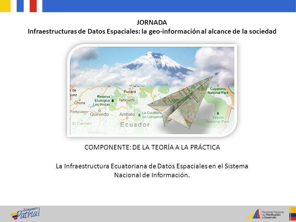 JORNADA Infraestructuras de Datos Espaciales: la geo-información al alcance de la sociedad COMPONENTE: DE LA TEORÍA A LA PRÁCTICA La Infraestructura E