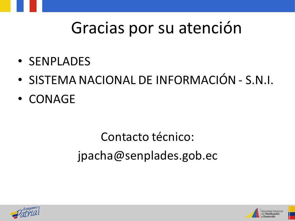 Gracias por su atención SENPLADES SISTEMA NACIONAL DE INFORMACIÓN - S.N.I. CONAGE Contacto técnico: jpacha@senplades.gob.ec