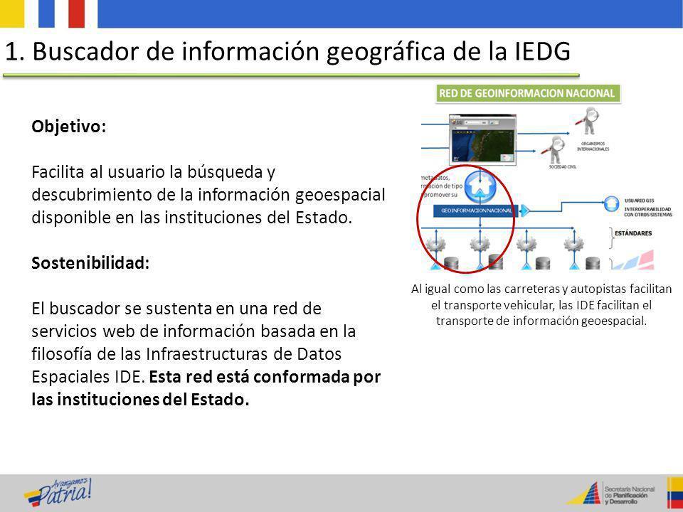 Objetivo: Facilita al usuario la búsqueda y descubrimiento de la información geoespacial disponible en las instituciones del Estado. Sostenibilidad: E