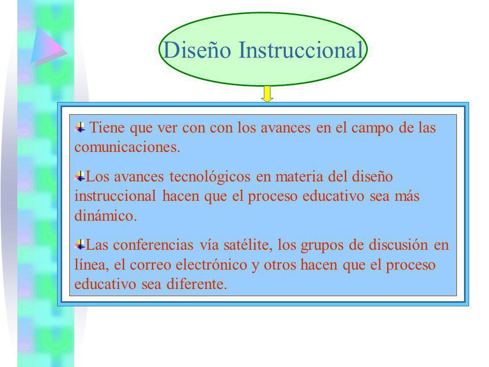 Diseño Instruccional Tiene que ver con con los avances en el campo de las comunicaciones. Los avances tecnológicos en materia del diseño instruccional