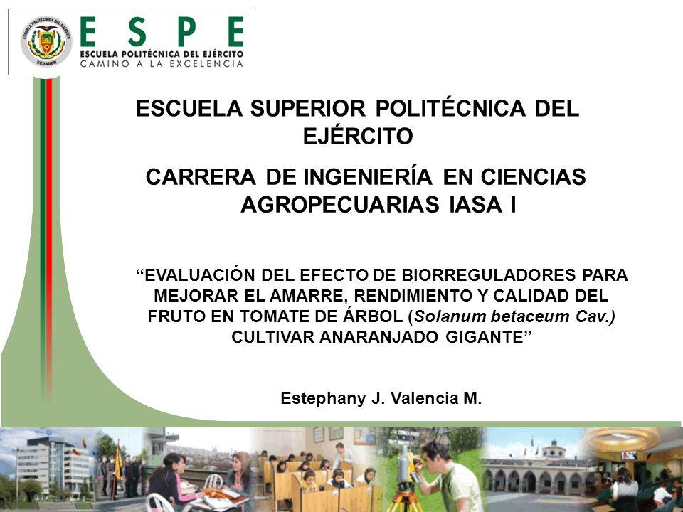 ESCUELA SUPERIOR POLITÉCNICA DEL EJÉRCITO CARRERA DE INGENIERÍA EN CIENCIAS AGROPECUARIAS IASA I EVALUACIÓN DEL EFECTO DE BIORREGULADORES PARA MEJORAR