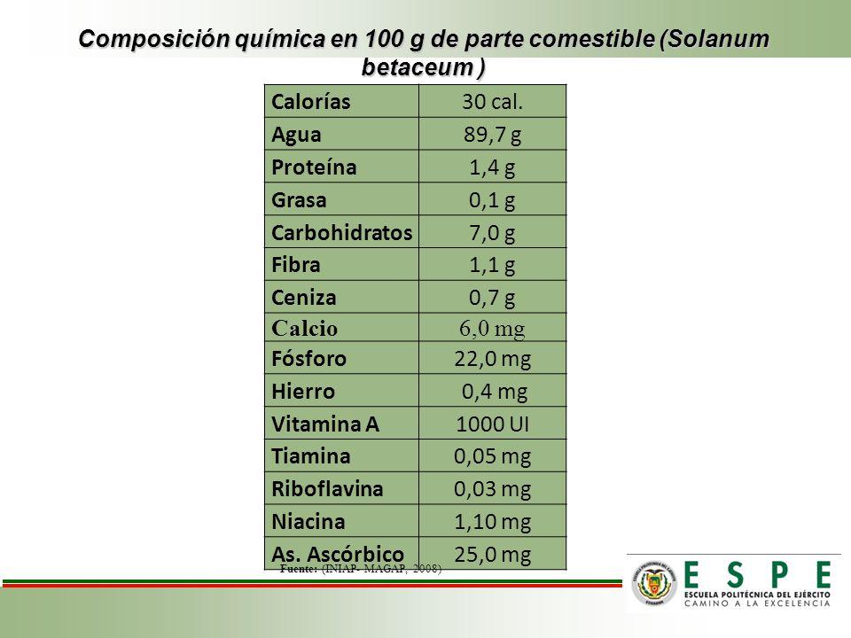 Composición química en 100 g de parte comestible (Solanum betaceum ) Calorías30 cal. Agua89,7 g Proteína1,4 g Grasa0,1 g Carbohidratos7,0 g Fibra1,1 g