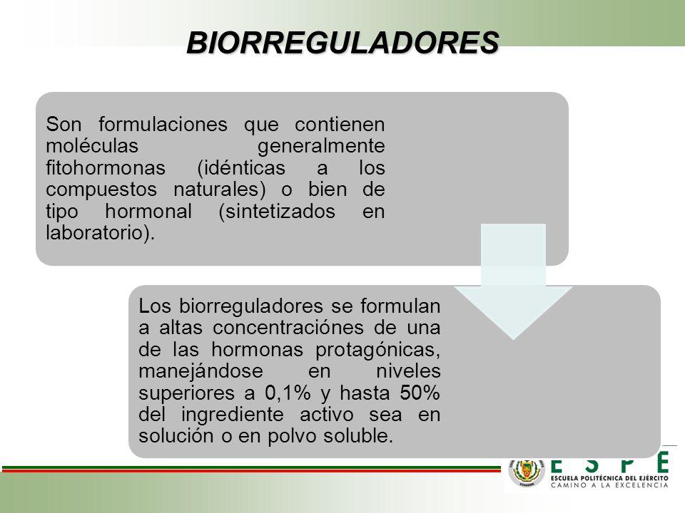 BIORREGULADORES Son formulaciones que contienen moléculas generalmente fitohormonas (idénticas a los compuestos naturales) o bien de tipo hormonal (si