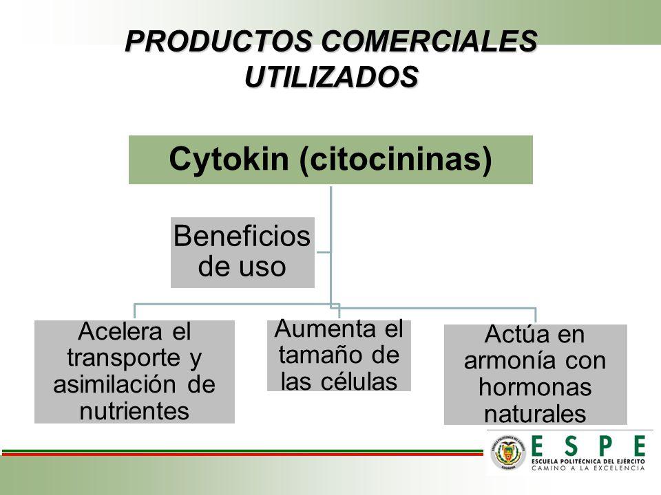PRODUCTOS COMERCIALES UTILIZADOS Cytokin (citocininas) Acelera el transporte y asimilación de nutrientes Aumenta el tamaño de las células Actúa en arm