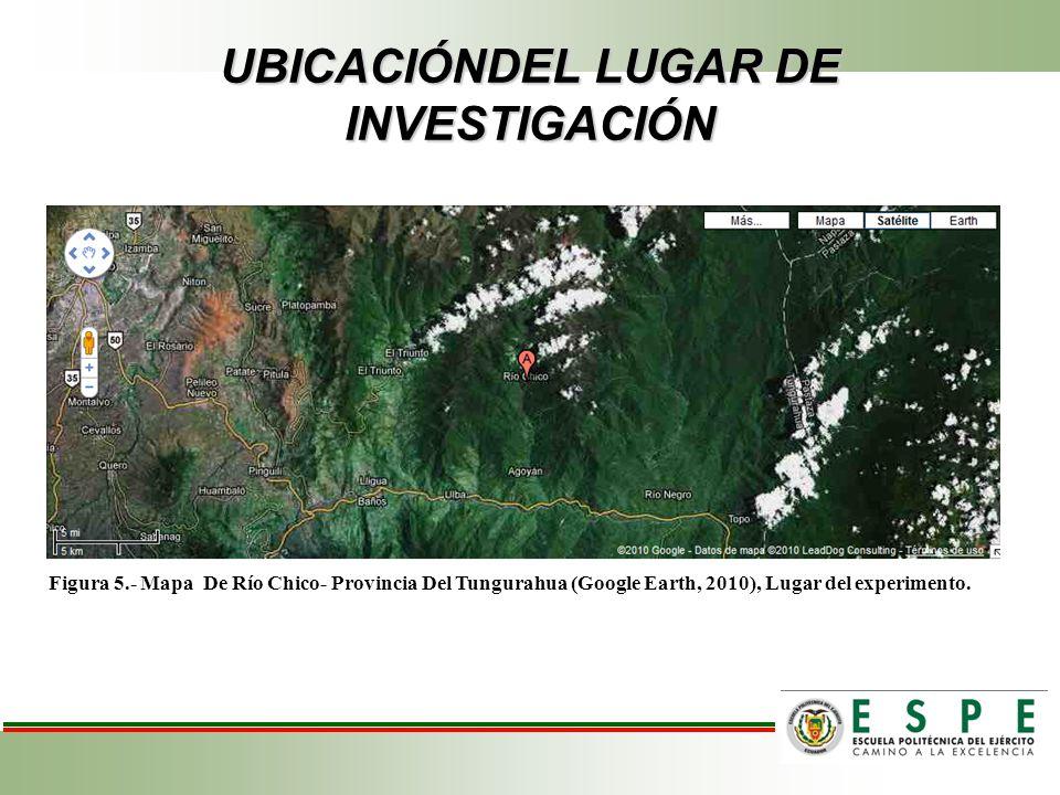 UBICACIÓNDEL LUGAR DE INVESTIGACIÓN Figura 5.- Mapa De Río Chico- Provincia Del Tungurahua (Google Earth, 2010), Lugar del experimento.