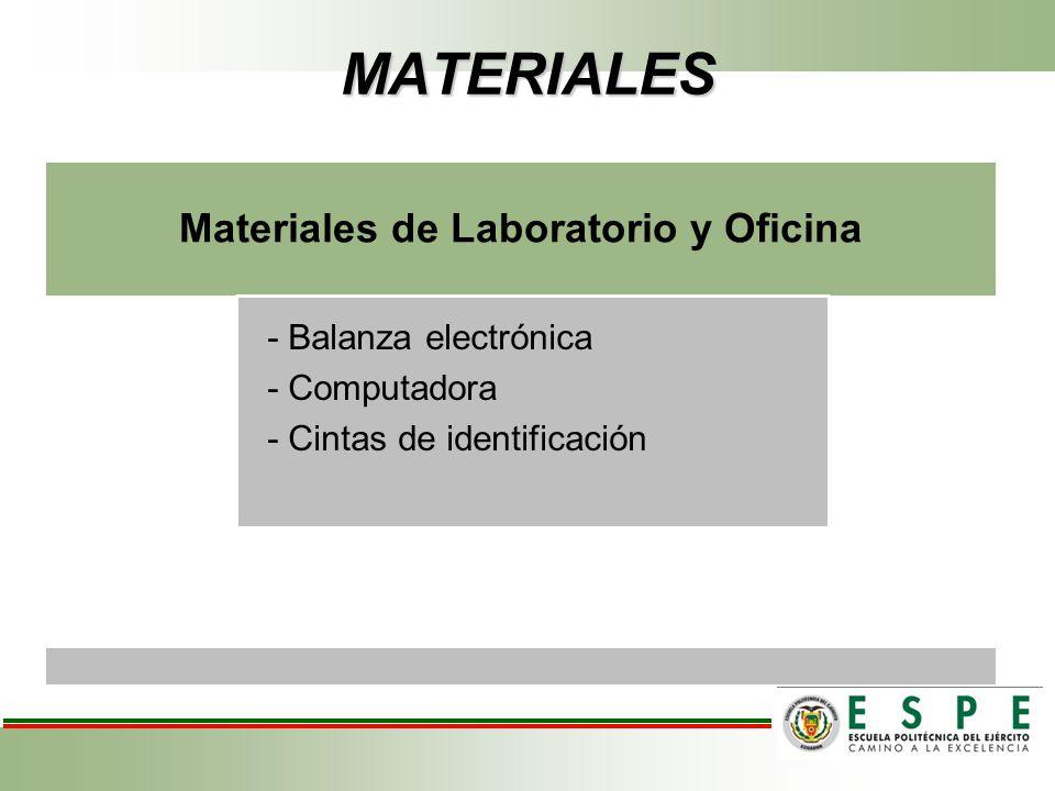 MATERIALES Materiales de Laboratorio y Oficina - Balanza electrónica - Computadora - Cintas de identificación
