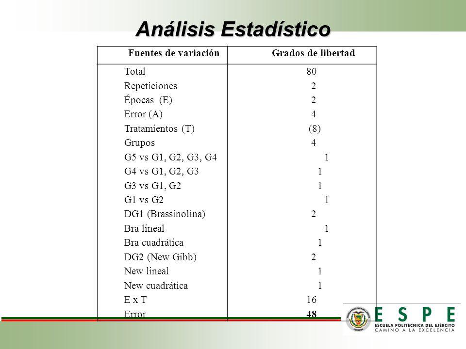 Análisis Estadístico Fuentes de variaciónGrados de libertad Total Repeticiones Épocas (E) Error (A) Tratamientos (T) Grupos G5 vs G1, G2, G3, G4 G4 vs