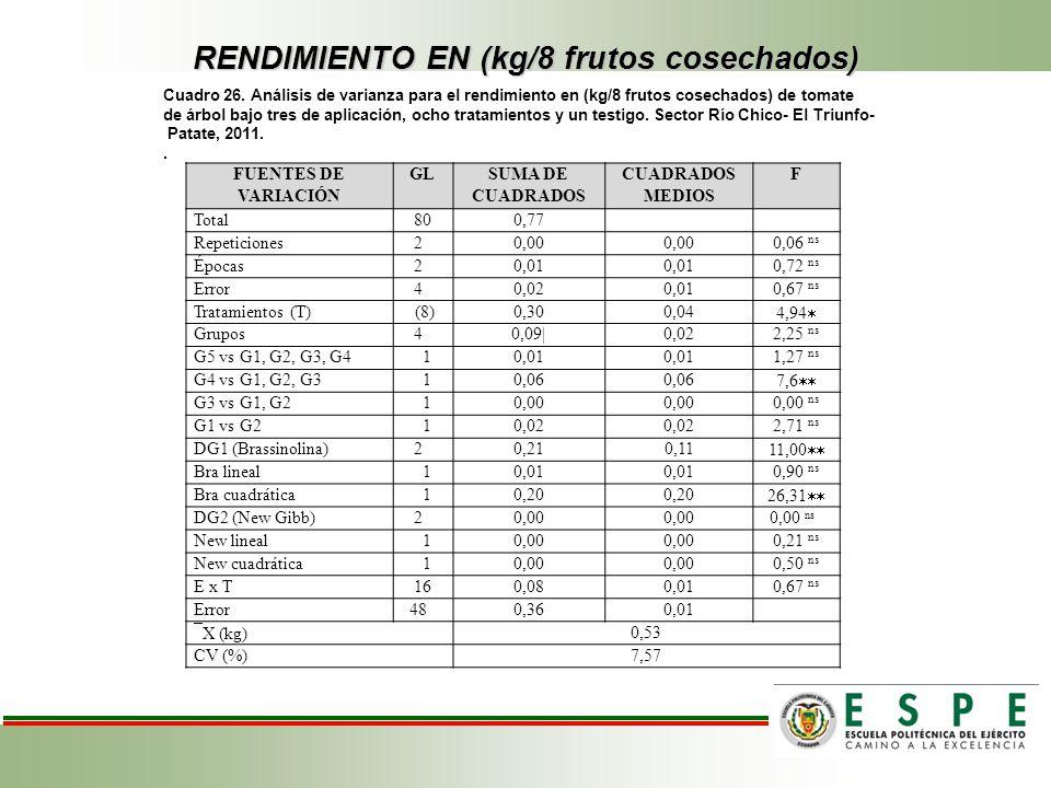 RENDIMIENTO EN (kg/8 frutos cosechados) Cuadro 26. Análisis de varianza para el rendimiento en (kg/8 frutos cosechados) de tomate de árbol bajo tres d