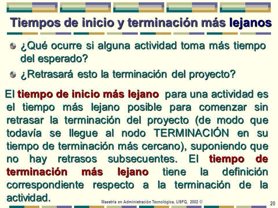 Maestría en Administración Tecnológica, USFQ, 2002 © 20 ¿Qué ocurre si alguna actividad toma más tiempo del esperado.
