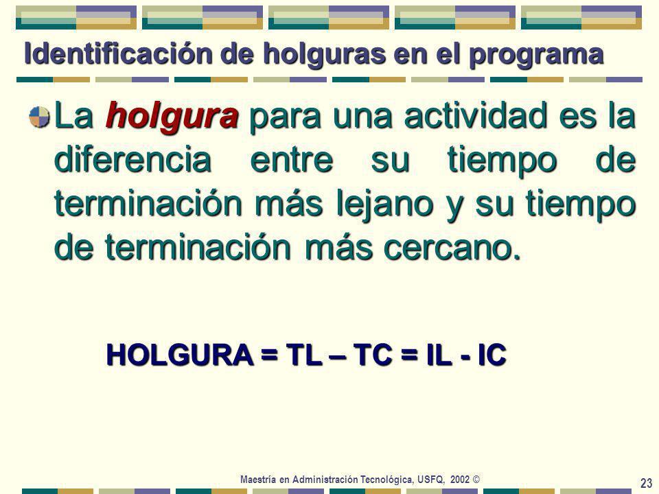 Maestría en Administración Tecnológica, USFQ, 2002 © 23 Identificación de holguras en el programa La holgura para una actividad es la diferencia entre su tiempo de terminación más lejano y su tiempo de terminación más cercano.