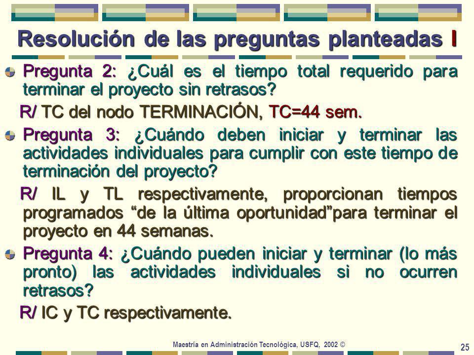 Maestría en Administración Tecnológica, USFQ, 2002 © 25 Resolución de las preguntas planteadas I Pregunta 2: ¿Cuál es el tiempo total requerido para terminar el proyecto sin retrasos.