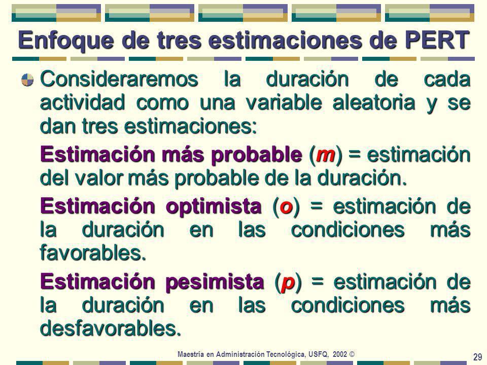 Maestría en Administración Tecnológica, USFQ, 2002 © 29 Enfoque de tres estimaciones de PERT Consideraremos la duración de cada actividad como una variable aleatoria y se dan tres estimaciones: Estimación más probable (m) = estimación del valor más probable de la duración.