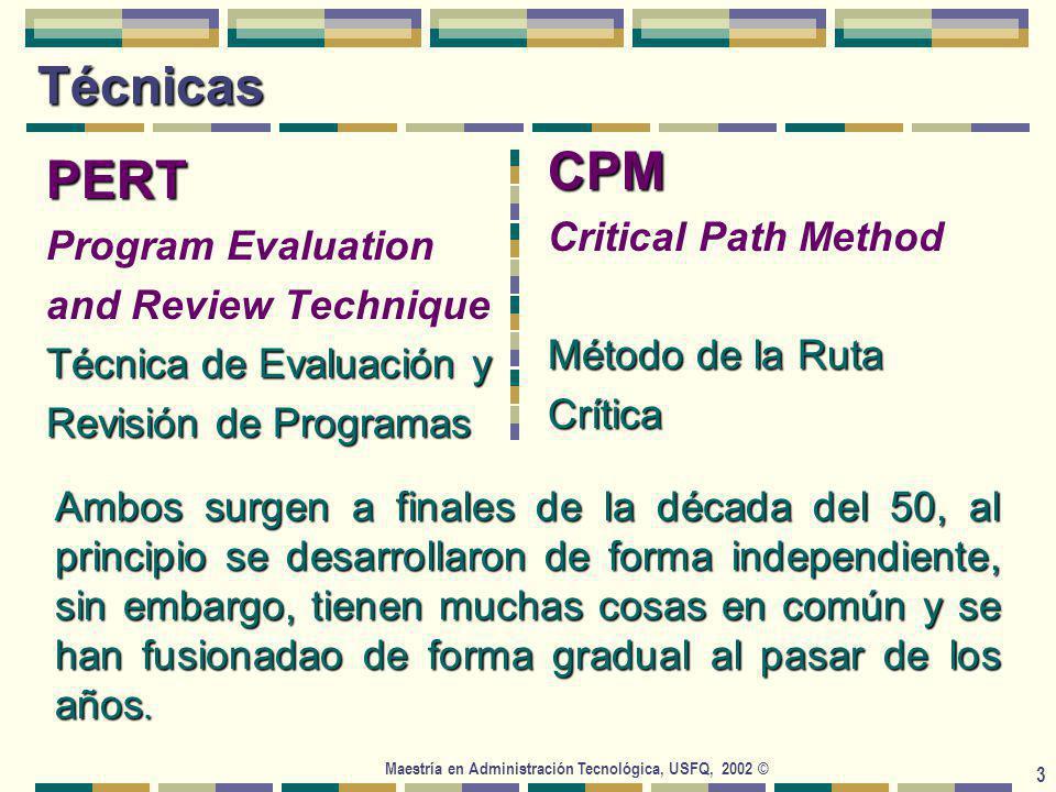 Maestría en Administración Tecnológica, USFQ, 2002 © 14 La ruta crítica La duración del proyecto es igual a la longitud de la ruta más larga a través de la red del proyecto.