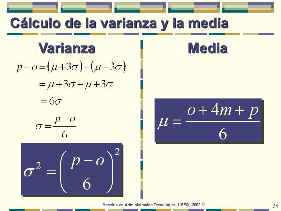 Maestría en Administración Tecnológica, USFQ, 2002 © 31 Cálculo de la varianza y la media VarianzaMedia