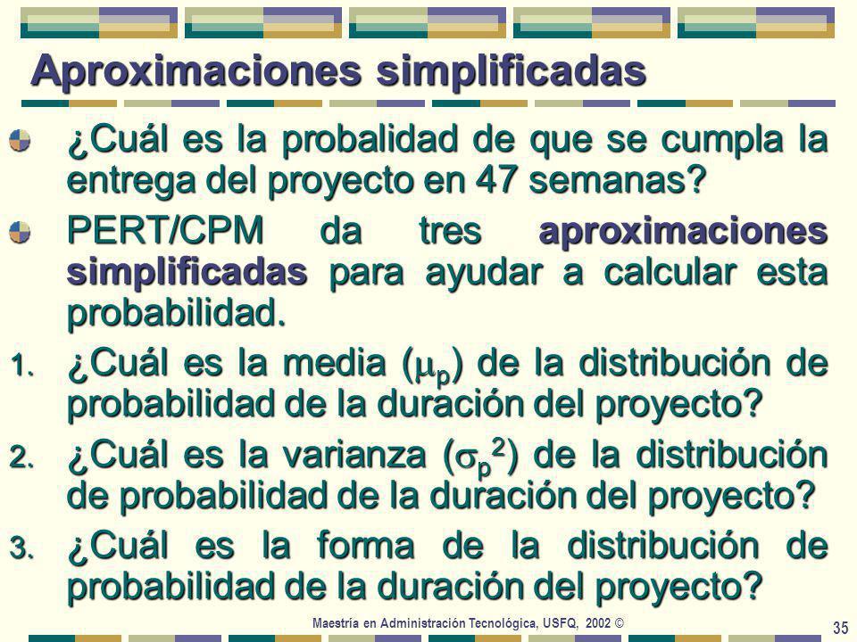 Maestría en Administración Tecnológica, USFQ, 2002 © 35 Aproximaciones simplificadas ¿Cuál es la probalidad de que se cumpla la entrega del proyecto en 47 semanas.